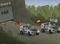کاریکاتور: صعود اسپانیا و پرتغال با ویدیو چک